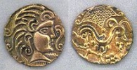 Gold coins minted by the Parisii in 1st century BC